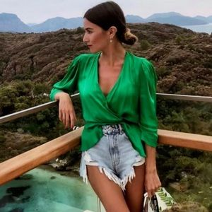 NWT Zara Green Satiny Wrap Blouse